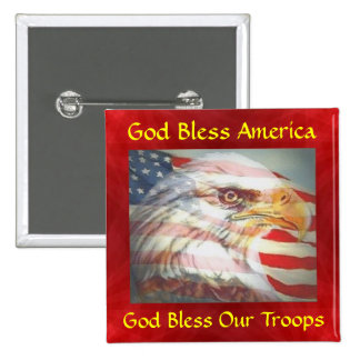 God Bless America/Troops 2 Inch Square Button