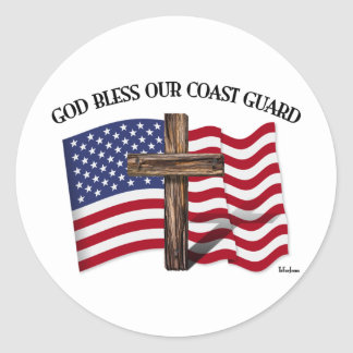 GOD BLESS COAST GUARD with rugged cross & US flag Classic Round Sticker