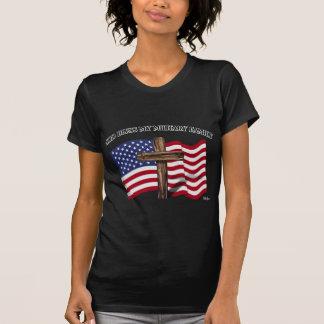 GOD BLESS MY MILITARY FAMILY rugged cross, US flag Tshirts