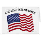 GOD BLESS OUR AIR FORCE with US flag Card