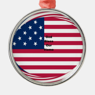 God Bless our Home Silver-Colored Round Ornament