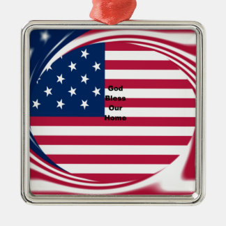 God Bless our Home Silver-Colored Square Ornament