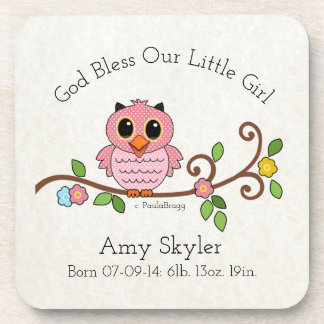 God Bless Our Little Girl: Personalized Coaster
