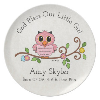 God Bless Our Little Girl: Personalized Dinner Plate