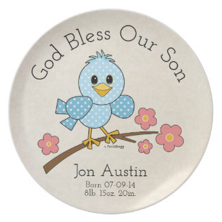 God Bless Our Son: Personalized Dinner Plates