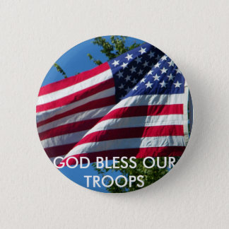GOD BLESS OUR TROOPS 2 INCH ROUND BUTTON