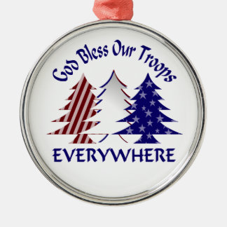 God Bless Our Troops Military Christmas Metal Ornament