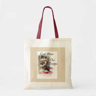 God Bless Our Troops Praying Angel With Flag Tote Bag