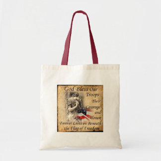 God Bless Our Troops Praying Angel with US Flag Tote Bag