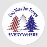 God Bless Our Troops Round Sticker