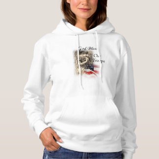 God Bless Our Troops with Praying Angel US Flag Hoodie