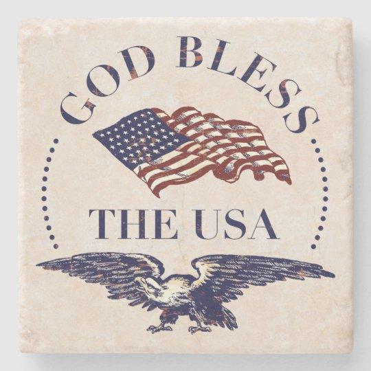 God Bless The USA - Flag and Eagle Vintage Stone Beverage Coaster
