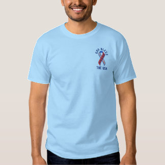 God Bless the USA Patriotic American Embroidered T-Shirt