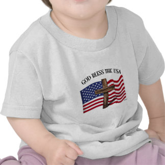 GOD BLESS THE USA with rugged cross & US flag T Shirt