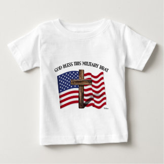 GOD BLESS THIS MILITARY BRAT rugged cross, US flag T Shirts