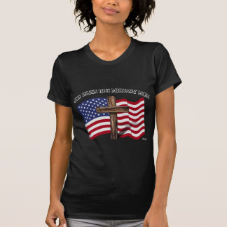 GOD BLESS THIS MILITARY MOM rugged cross & US flag T-shirts