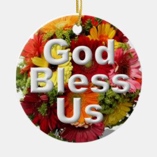 God bless us ceramic ornament