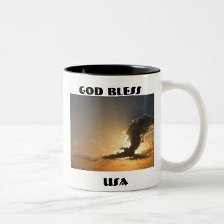 God Bless USA Sunset Cloud Eagle Two-Tone Coffee Mug