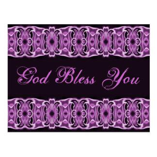 God Bless You purple black Postcard