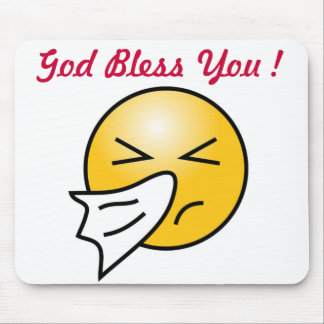 """""""GOD BLESS YOU"""" SMILEY FACE MOUSE PAD"""