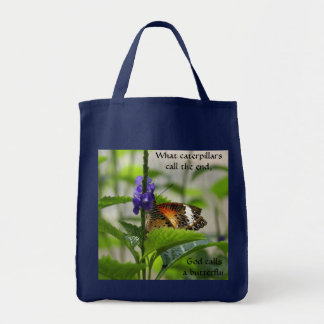 God Calls Butterfly Grocery Tote