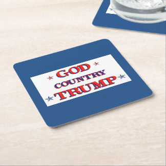 GOD COUNTRY TRUMP SQUARE PAPER COASTER
