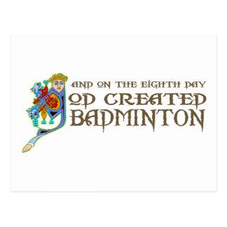 God Created Badminton Postcard