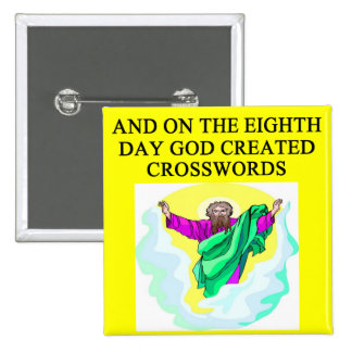 god created crosswords 2 inch square button