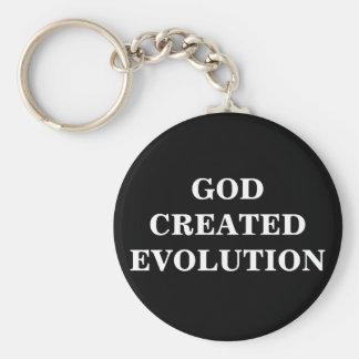 GOD CREATED EVOLUTION BASIC ROUND BUTTON KEYCHAIN