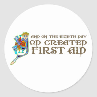 God Created First Aid Round Sticker