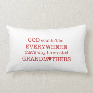 God Created Grandmothers-Red Hearts Pillows