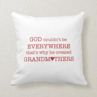 God Created Grandmothers-Red Pillow