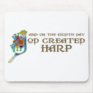 God Created Harp Mouse Pad