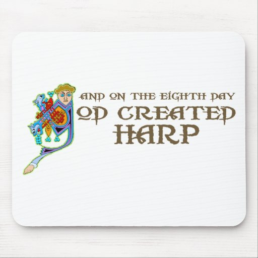 God Created Harp Mouse Mats