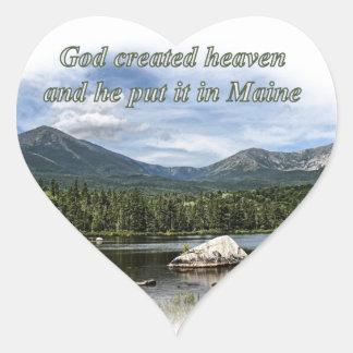 God created heaven heart sticker