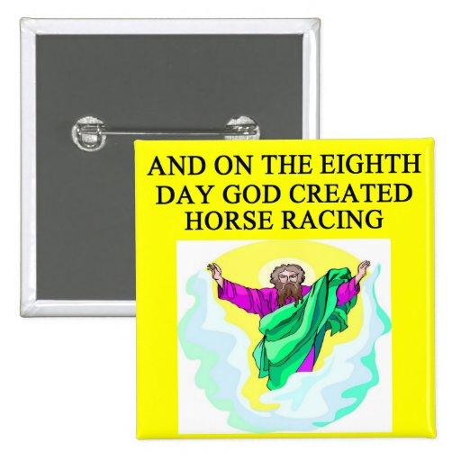 god created horse racing pinback buttons