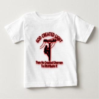 God Created Light - Funny Bible, Lineman Design Baby T-Shirt