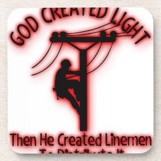God Created Light - Funny Bible, Lineman Design Coaster