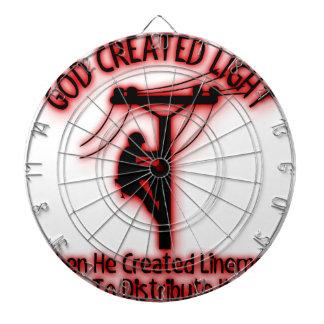 God Created Light - Funny Bible, Lineman Design Dartboard