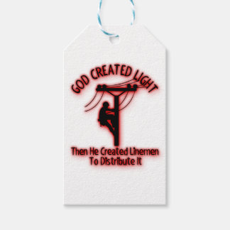 God Created Light - Funny Bible, Lineman Design Gift Tags