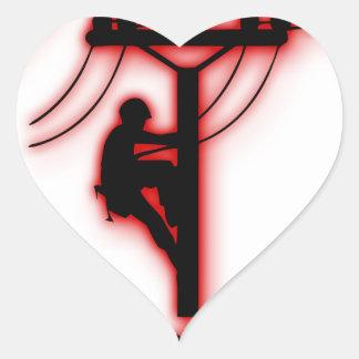God Created Light - Funny Bible, Lineman Design Heart Sticker