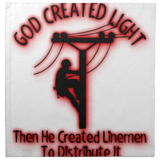 God Created Light - Funny Bible, Lineman Design Napkin