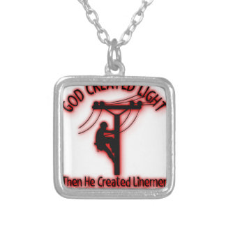 God Created Light - Funny Bible, Lineman Design Silver Plated Necklace