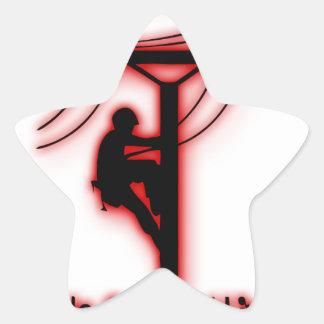 God Created Light - Funny Bible, Lineman Design Star Sticker