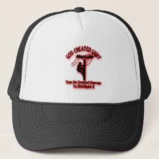 God Created Light - Funny Bible, Lineman Design Trucker Hat