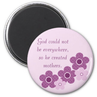 God Created Mothers Flower Magnet, Lavender Magnet
