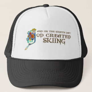 God Created Skiing Trucker Hat