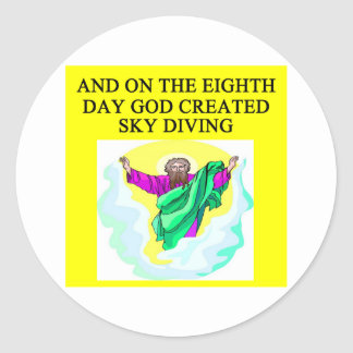 god created sky diving round sticker