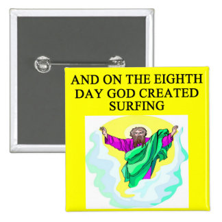 god created surfing 2 inch square button