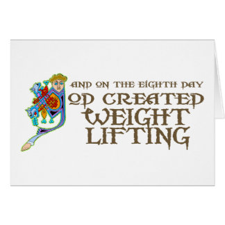 God Created Weight Lifting Card